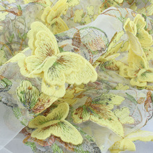 3D Embroidered Flower Butterfly Lace Fabric Applique Wedding Clothing Dress Hemline Fabric
