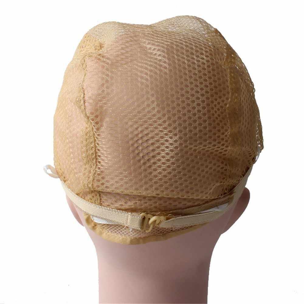 2 Pcs Wig Topi Kualitas Baik Rambut Bersih Wig Topi Kembali Tenun Ukuran Topi Glueless untuk Wig dengan Tali Yang Dapat Disesuaikan