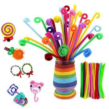 100 sztuk DIY Craft czyściki szenilowe Handmade miękkie filc Strip Rod Braiding Wire kolorowe czyściki do fajki tkania Twisted Sticks Decor tanie i dobre opinie = 100 Sztuk EG03022 Colorful