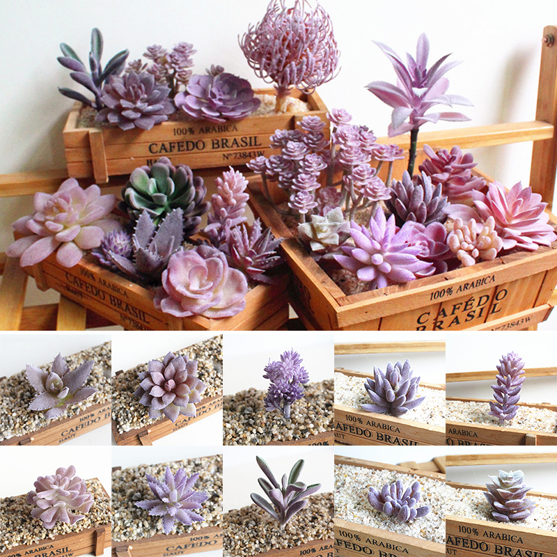 Hot Sale DIY Accessories Fashion Purple Succulents Plant Flower Wall Potted  Mini Artificial Simulation Flocking