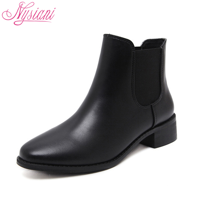 2018 Chelsea Boots Women Autumn Winter Shoes Brand Designer Round Toe Fashion Low Heels Ankle Short Boots Shoes Nysiani