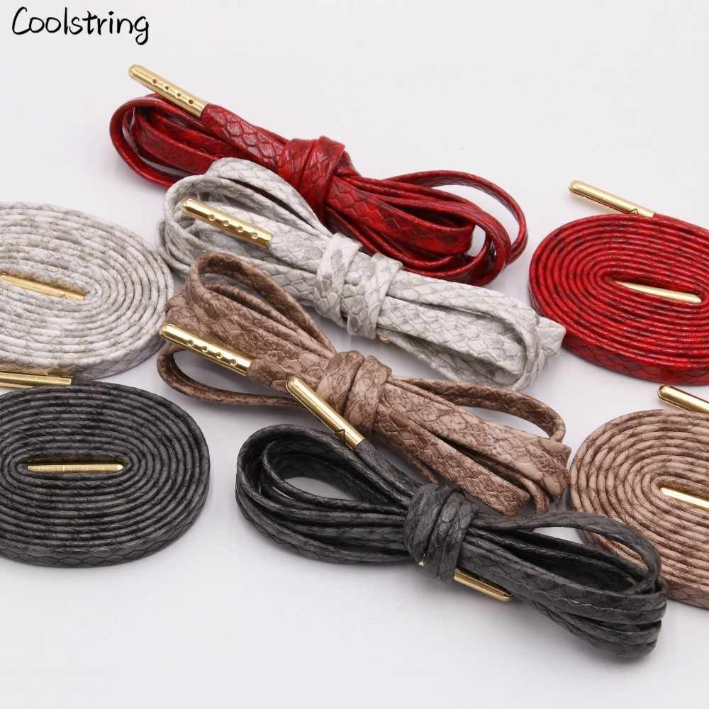 Coolstring שטוח נחש נעל שרוכים לבן אדום אפור חום יוקרה עור LE שרוכי עם זהב מתכת Aglets עבור סניקרס ספורט