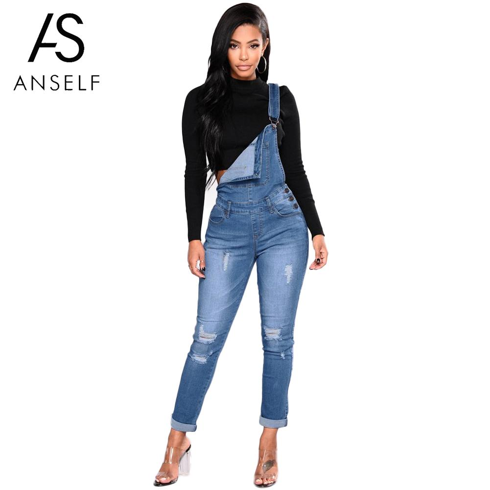 Anself Fashion Women Denim   Jumpsuit   Ladies Spring Fashion Pencil Jeans Rompers Female Casual Plus Size Overalls With Pocket 2019