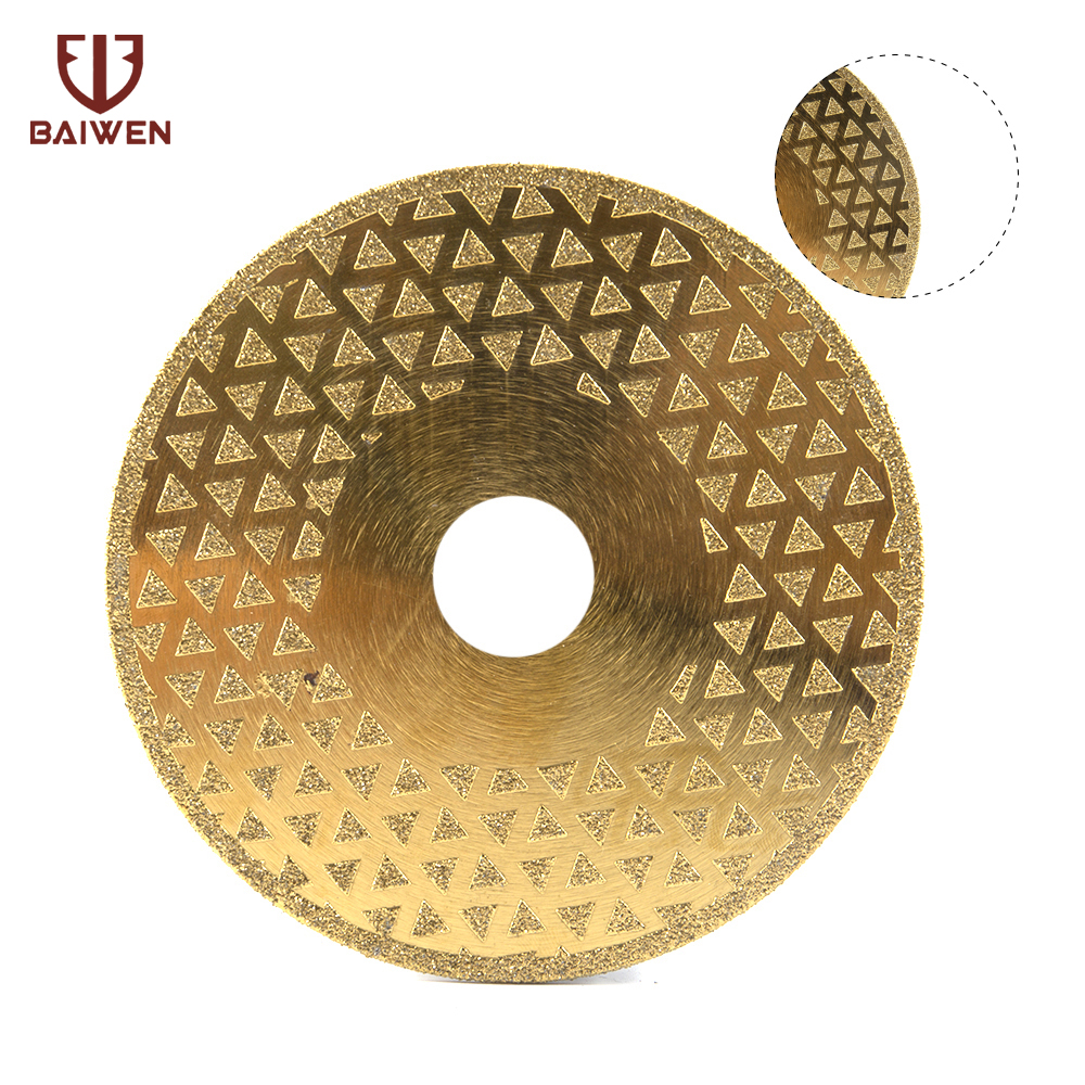 5 Electroplated Diamond Cutting Disc Flat Saw Blade Golden For Granite Marble
