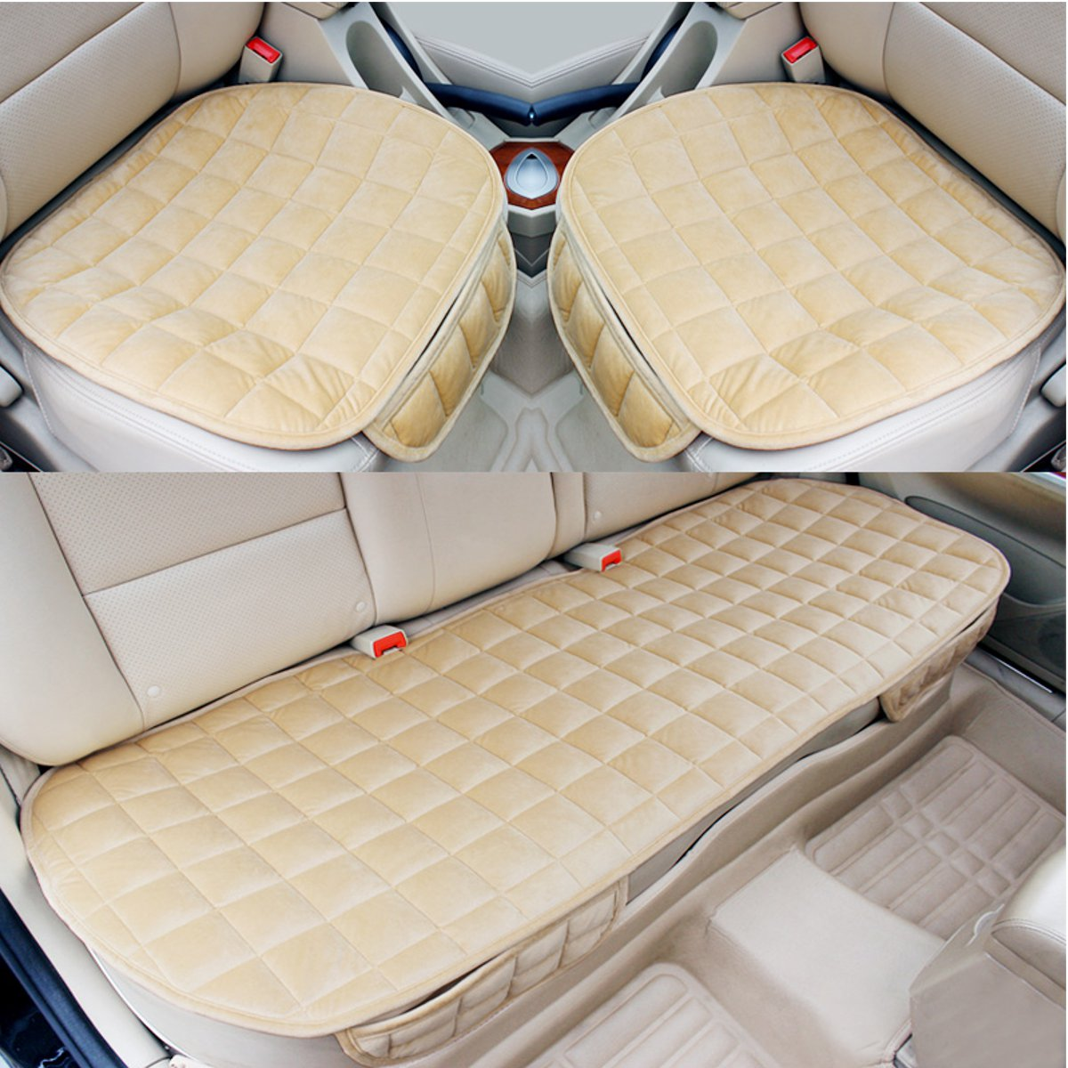 Black Universal Car Rear Seat Protection Interior Cushion Pad Mat Scratch Proof Nonslip Plush Back Seat Cover Breathable Rear Bench Pad Universal for Cars,Pet,Home Long Sofa