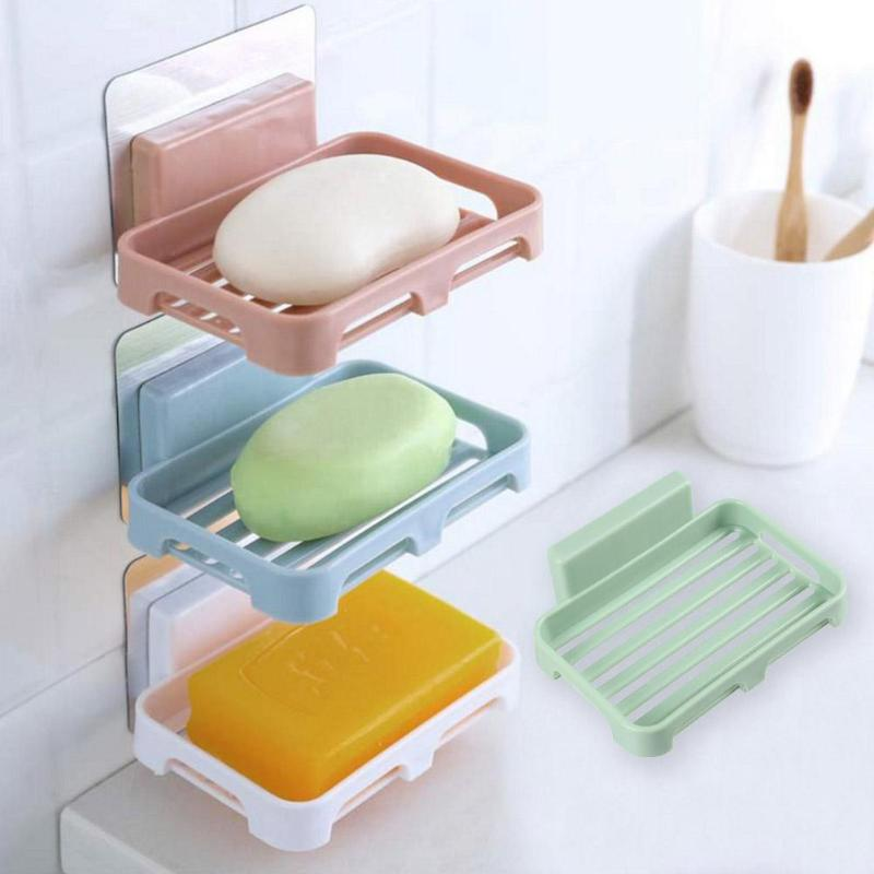 Bathroom Shower Soap Rack Box Dish Storage Plate Tray Case Wall Mounted Soap Holder High Quality Housekeeping Organizers