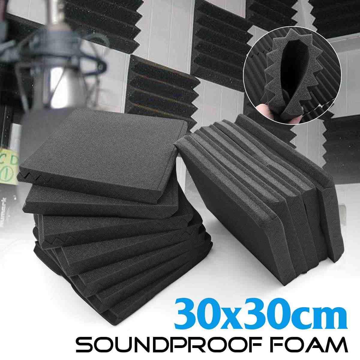 12/24pcs Sound Proofing Acoustic Foam Panels Studio Wedge Foam Noise Sponge Room Sound Absorbing Soundproofing Treatment Foam