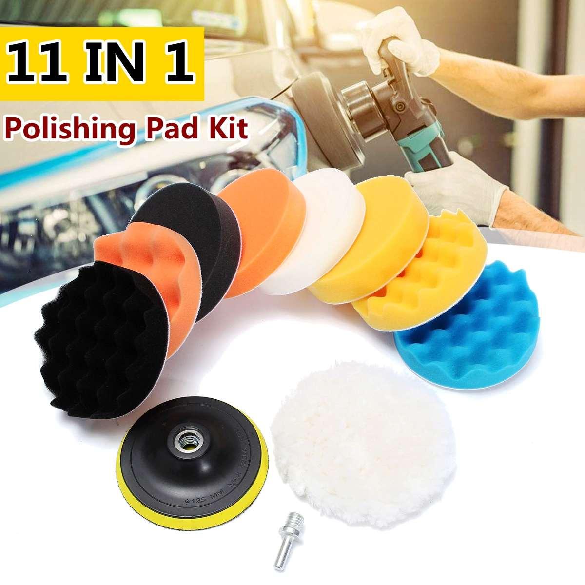 11pcs 5inch Car Polishing Pad Set Buffing Sponge Polish Auto Sponge Waxing Pads Drill Set Kit For Car Polisher Wheel Wax