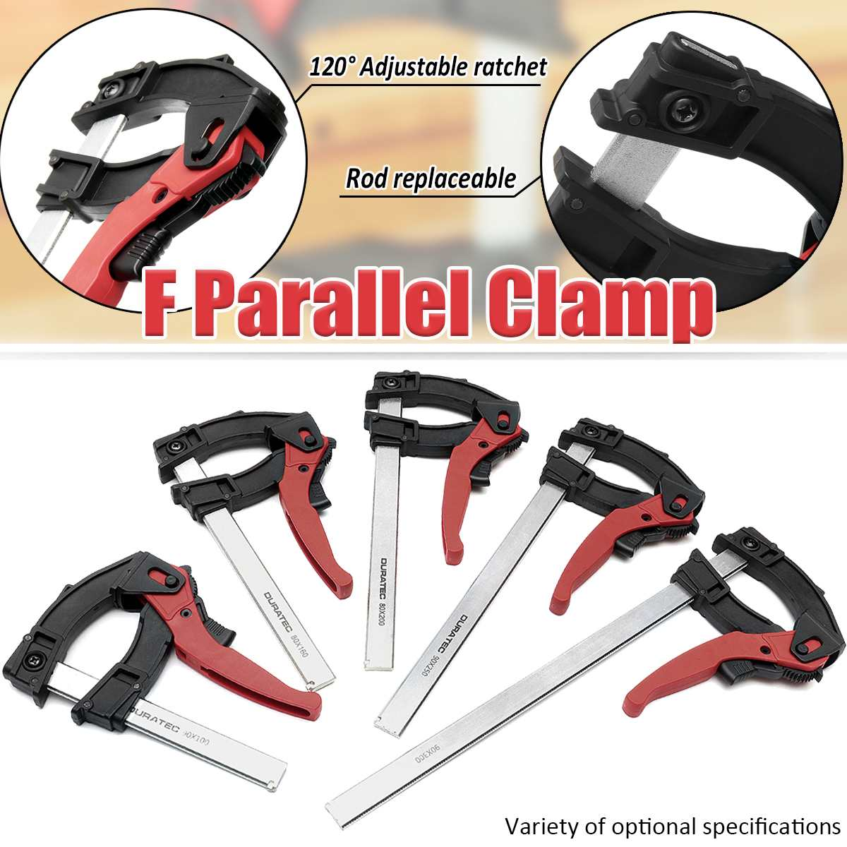 Heavy Duty Bar Clips Set Quick Slide Woodworking DIY Hand Long Tools Kit Wood Clamp 80 x 600mm 2 Pcs F Clamps