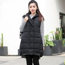Hot Sale Female Cotton Padded Sleeveless Parkas Women Hooded Warm Waistcoat Casual Plus Size Long Vests цена 2017