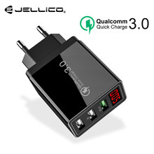 Jellico QC 3.0 3 Port USB Telefoon Oplader LED Display EU Plug Totaal Max 3A Smart Fast Charger Mobiele Muur oplader voor iPhone iPad(China)