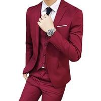 Men male blazer Slim Autumn Suit Blazer Formal Business Male Suit One Button Lapel Casual Long Sleeve Pockets Top 3Pcs