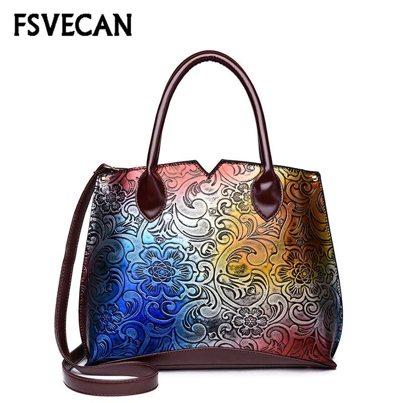 Women Handbag Retro China Style Colorful Flower Design Ladies Hand Bags High Quality Leather Shoulder Messenger
