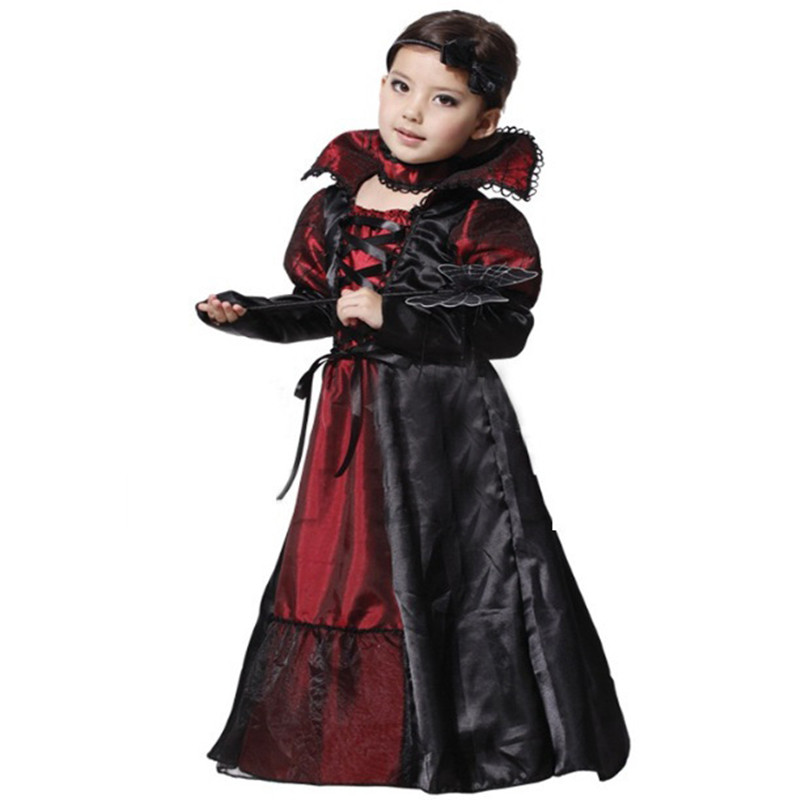 Purim Children's Girl Gothic Vampire Holiday Costume Christmas Princess Cosplay Costume Halloween Carnival Party Dress Girl