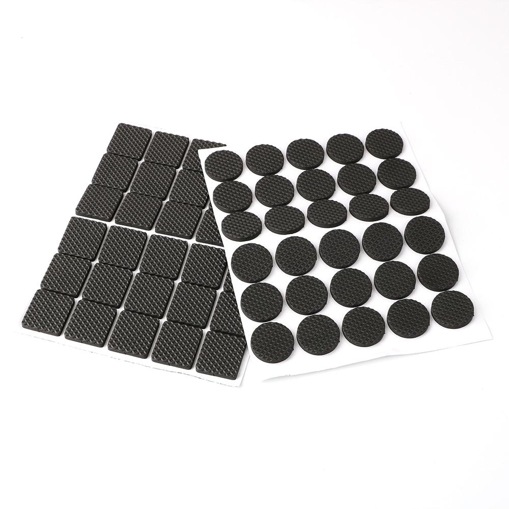 30pcs Rubber Table Feet No Slip Pad Black Round Square