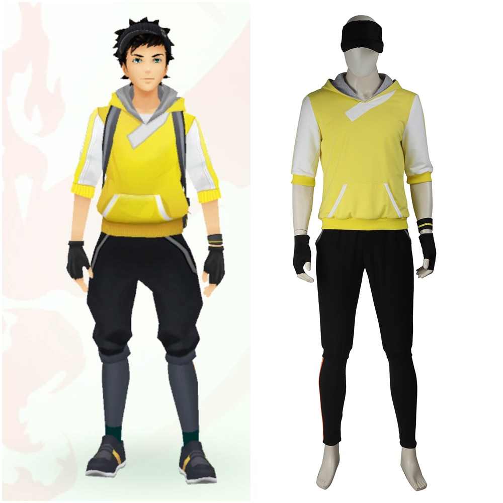 Men's Pokemon Go Trainer Yellow Team Valor Instinct Mystic Cosplay Costume