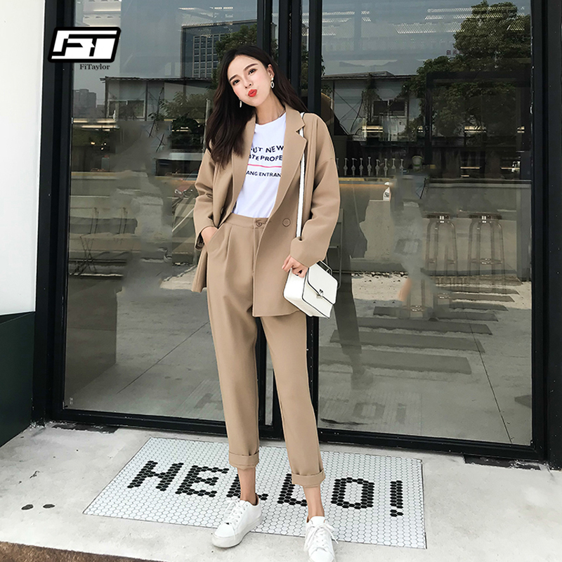 Fitaylor Women Pant Suits Autumn Casual Solid Turn down Collar Jacket Pencil Pant Female Suit Ol