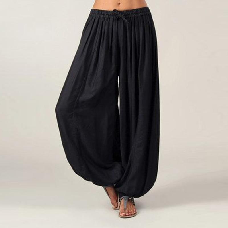 VONDA Women Casual   Wide     Leg     Pants   2019 Autumn Elastic Waist Loose Long Harem   Pants   Bottom Female Sexy Solid Long Trousers