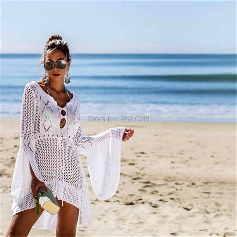 New Sexy Cover Up Bikini Mulheres Swimsuit Cover-up Praia Maiô Beach Wear Tricô Swimwear Vestido de Praia De Malha túnica Robe