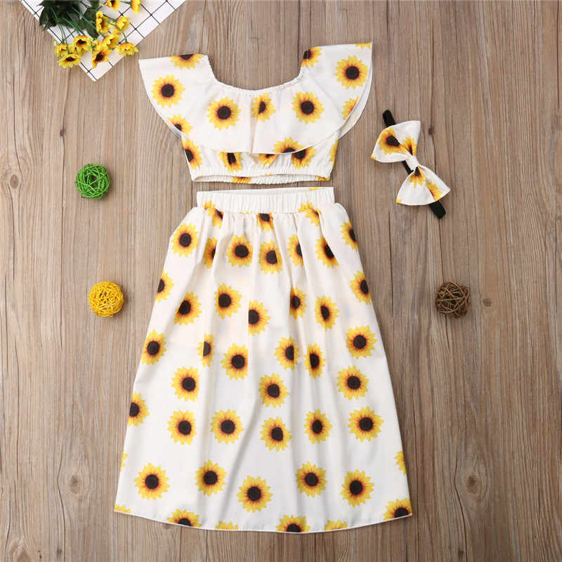 638704c5e1349 1-6T 3PCS Kids Baby Girl Sunflower Clothes Set Crop Tops Shorts Dress  Headband Outfits Clothes Summer Party Cute Outfis