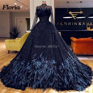 Image 1 - Dubai Design Feathers Navy Blue Evening Dresses Abendkleider Islamic Prom Dress For Weddings Vestido Arabic Beaded Pageant Gowns