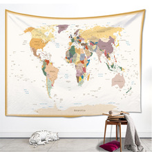 Color World Map High Quality Cloth Tapestry Indian Style Beautiful Blanket  Home Décoration