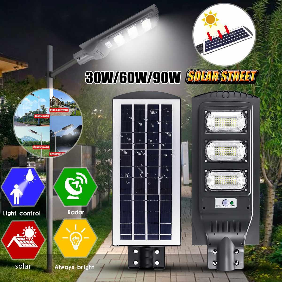 30W/60W/90W LED PIR Solar Street Light Outdoor Waterproof IP65 Radar Sensor Light Control Solar Powered Led Yard Street Lamp