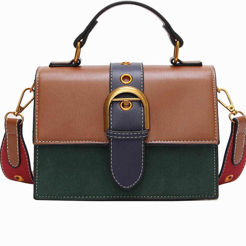 0071618c5b98 Женская сумка через плечо Маленькая кожаные сумочки модная контрастная  Лоскутная сумка женская мини-Хобо с