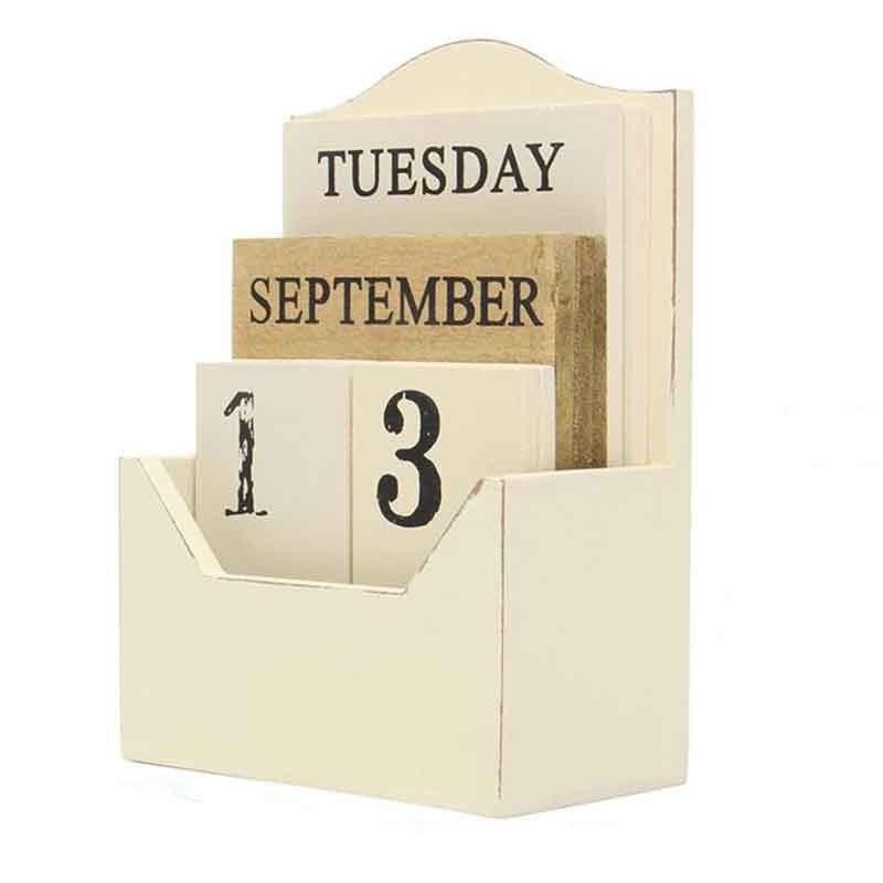 Süß GehäRtet Neue-holz Schreibtisch Kalender Retro Vintage Holz Block Perpetual Kalender Holz Umwelt Büro Zu Hause Schreibtisch Dekor Diy-weiß Kalender Office & School Supplies