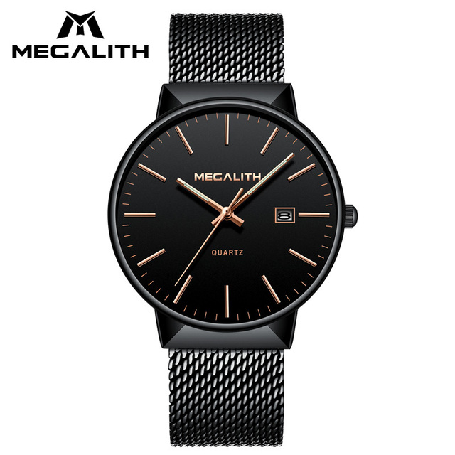 MEGALITH New Fashion Mens Watch Top Brand Luxury Quartz Watches Stainless Steel Business Watches Waterproof Calendar Gents Clock