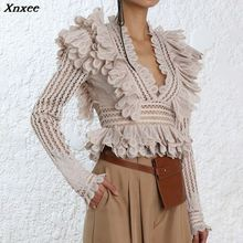 Xnxee 2019 Autumn Hollow Out V Neck Ruffles Spliced Tops Women Shirt New