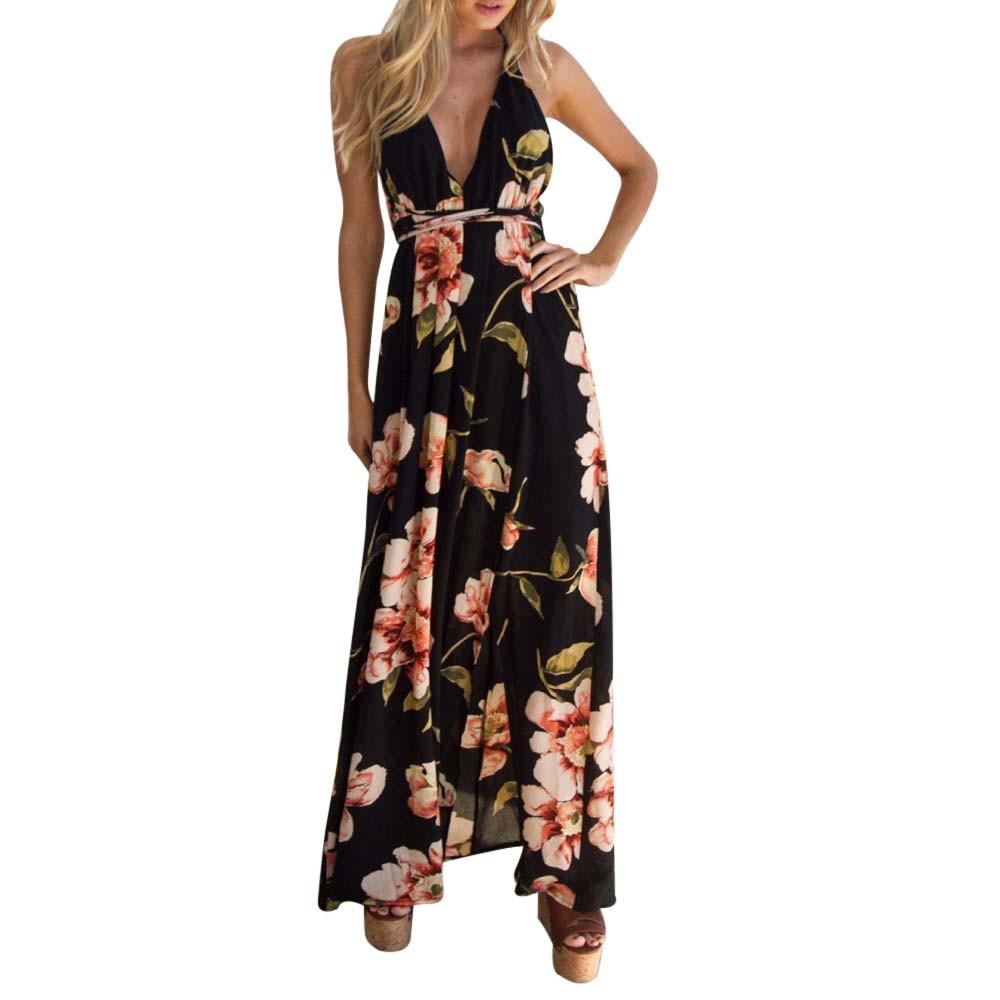 Vestidos  Sexy Women Deep V-Neck Long Beach Sundress Summer Ladies Boho Floral Printed Backless Casual Maxi Party Dresses