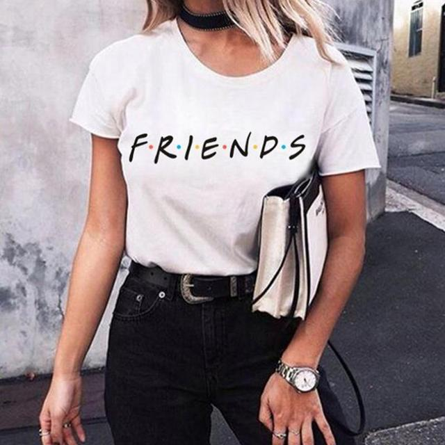 bdeb389e6 2019 Verão Homens   Mulheres Camiseta Carta Impressão Amigos Tv T-shirt de  Manga Curta Casual Tops Tee O Pescoço Feminino tops Camisetas Mujer