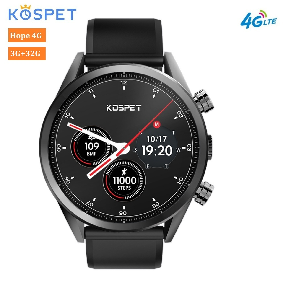 Kospet надежда 4 г Smartwatch 7,1 дюймов Android 1,39 MTK6739 ядра 1,3 ГГц 3 ГБ оперативная память 32 Встроенная телефон смарт часы 8.0MP камера 620 мАч