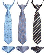 Lot 3 satz 27 cm Kind Pre gebunden Krawatte für Jungen Woven Taschentuch Kinder Krawatte Schule Eltern kind krawatte Tasche Platz