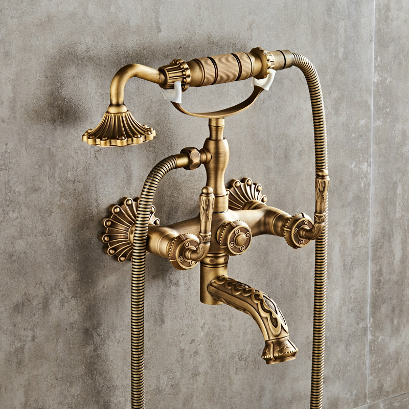 Luxury Antique Brass Bathroom Faucet Mixer Tap Wall Mounted Hand Held Shower Head Kit Shower Faucet
