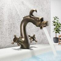 SKOWLL Tap for Bathroom Sink Dual Handle Cold and Hot Water Antique Copper Bathroom Faucet Mixer