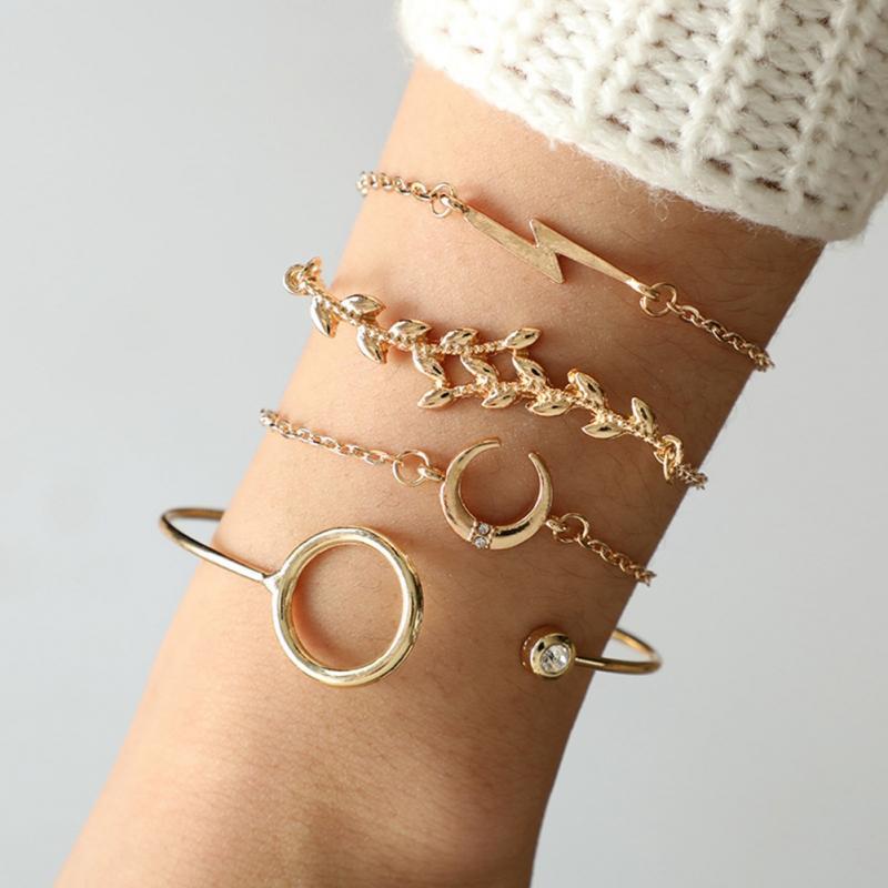 Hot 4 PcsSet Simple Fashion Alloy Chain Open Cuff Bracelet Bangle Set Jewelry Gift