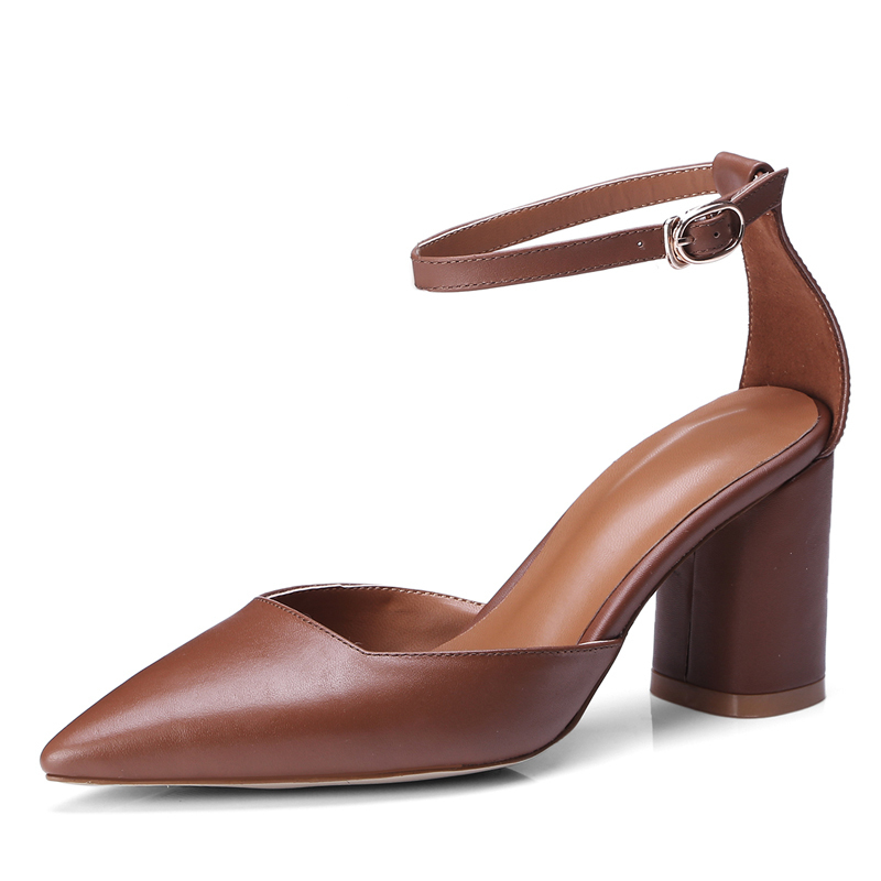 Summer Style Women Sandals 7.5 CM Chunky Heels Genuine Leather Buckle Pumps Sexy Ladies White Dress Shoes Box Packing 532Summer Style Women Sandals 7.5 CM Chunky Heels Genuine Leather Buckle Pumps Sexy Ladies White Dress Shoes Box Packing 532