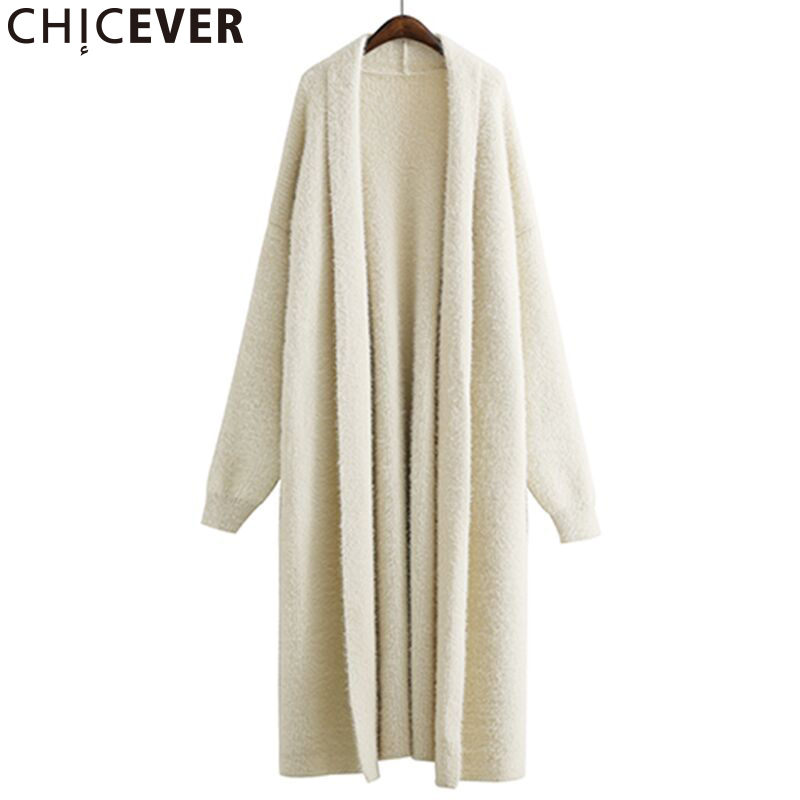 CHICEVER 2020 Winter Knitted Female Sweater For Women Batwing Sleeve Loose Big Size Warm Black Cardigan Feminino Sweaters Jumper
