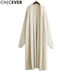 CHICEVER 2020 suéter de punto de invierno para mujer manga de murciélago suelto tamaño grande negro cálido cárdigan Feminino suéteres puente