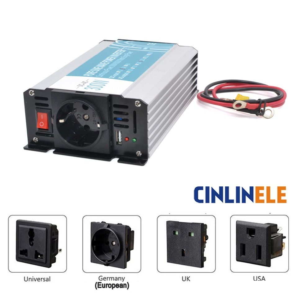 Europe Socket Pure Sine Wave Inverter 300W 600W DC 12V 24V 48V to AC 110V 220V Smart Series Solar Power 300W Surge Power 600W