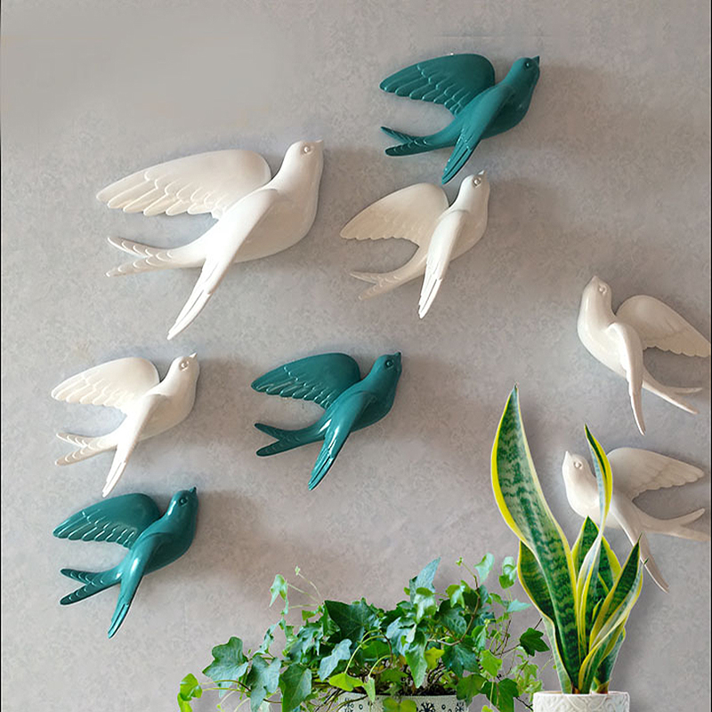 Wall Ornament Resin Swallow Statues Home Decorations Wall Stickers TV Black Ground Living Room Garden Sculptures Wall Decoration