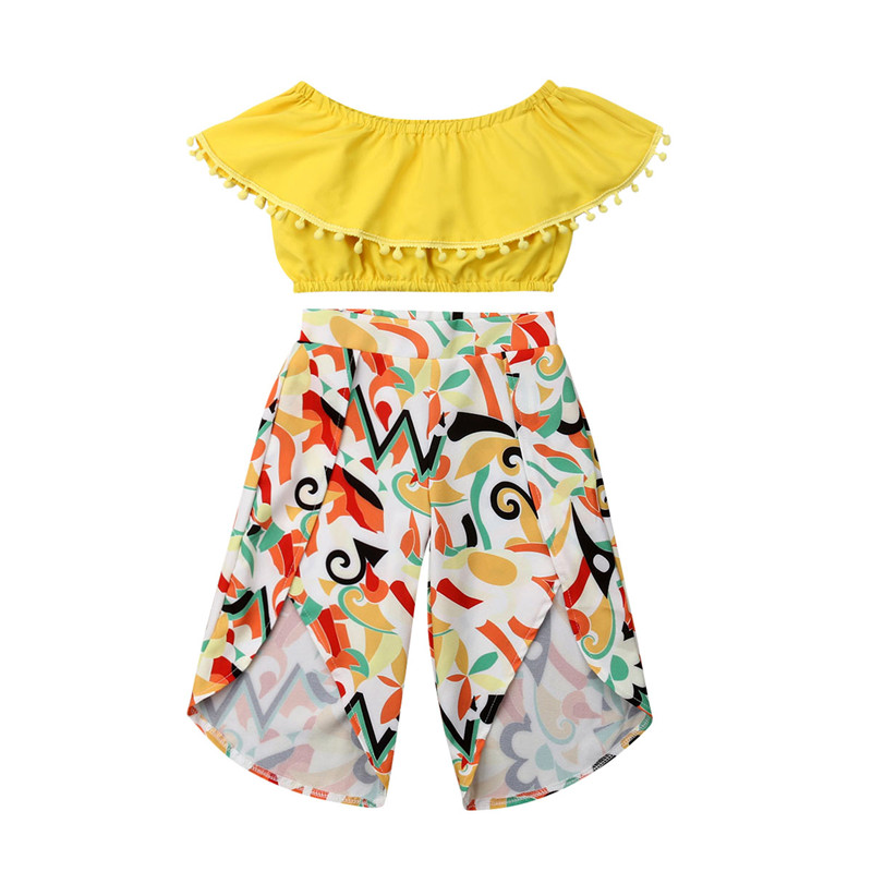 Kids Summer Clothes Tassels Off Shoulder Crop Tops T-Shirt+Floral Pants Girls Outfit Cotton Girls Clothing Cute Kids Clothes Set