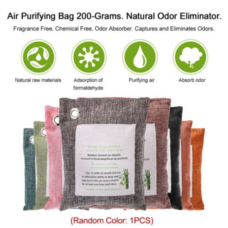 200g Air Purify Bag Fresh Active Linen Bags Bamboo Charcoal Carbon Purifier Mold Odor Air Purifying Deodorant Dry Deodorizer