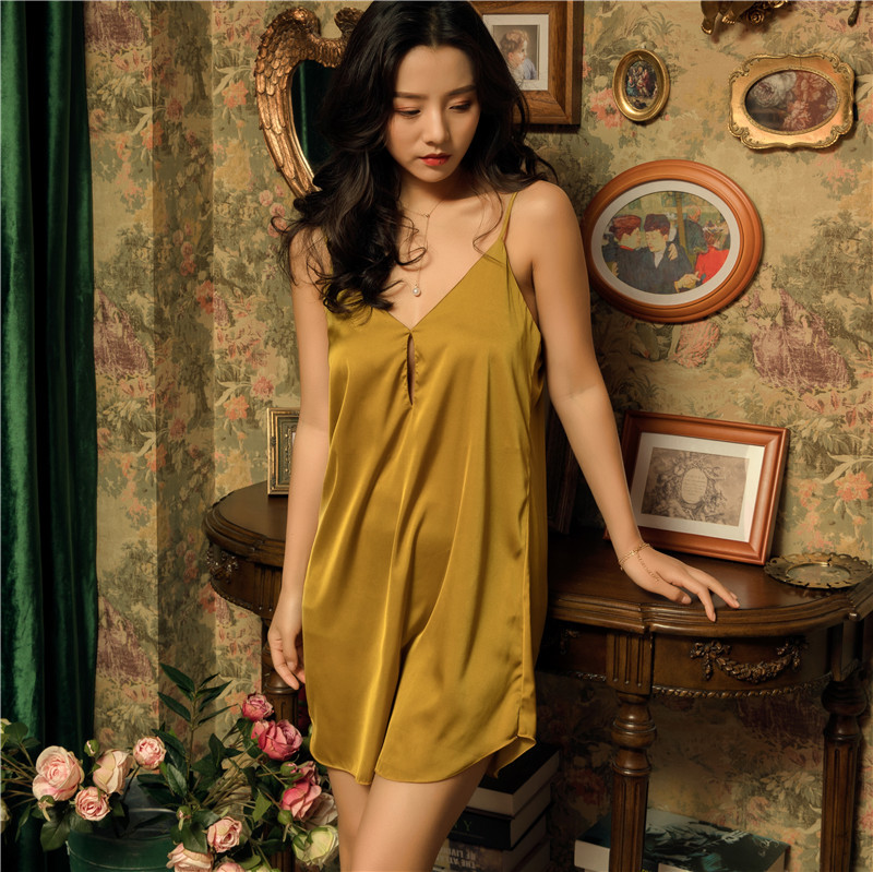 2019 Summer Satin Women Nightshirts Nightdress Sexy Silk Backless   Nightgowns   Sleeveless Pijamas Nightdress   Sleepshirts