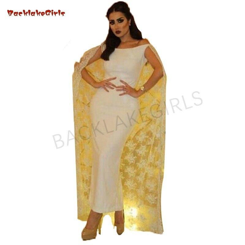Superbe gaine robes de soirée arabie saoudite dentelle Cape formelle robes de soirée Vestidos de Fiesta sur mesure robe de bal