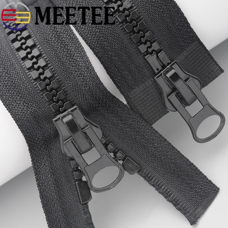 Meetee 8 # Harz Zipper Schwarz Weiß Doppel Sliders Unten Jacke Mantel Tasche Zelt Markise Offene Ende Zipper Nähen Kleidung zubehör