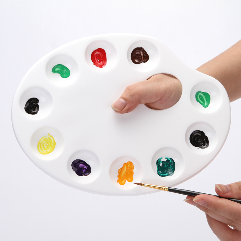 Ellipse Plastic Palette Ten Hole Painting Art Supplies Oil Paint Gouache