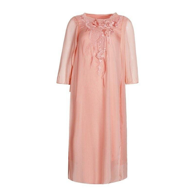 Robe Longue Femmes Robes Soie Dressas279 Pink Manches De Chinois Naturelle Taille D'été Classique Plus En Broderie Boutique Demi P08kwOnX